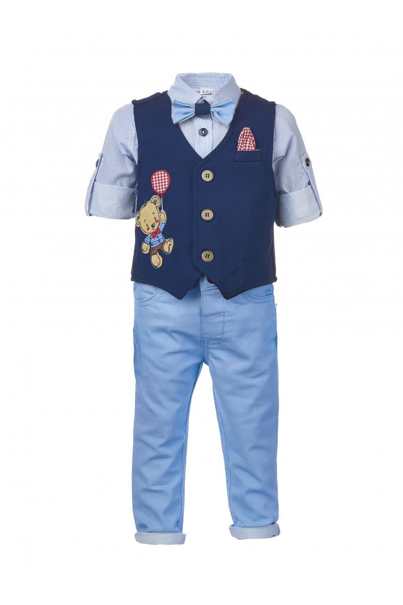 Костюм для мальчика жилетный с аппликацией и голубыми брюками