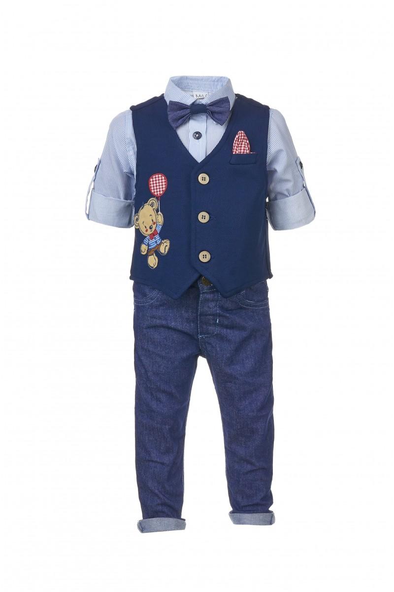 Костюм для мальчика жилетный с аппликацией и джинсовыми брюками