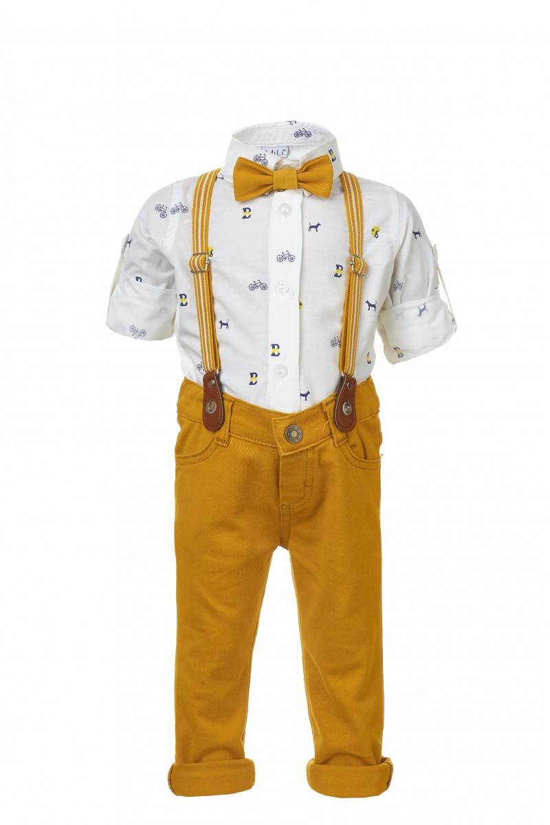 Стильный костюм для мальчика с желтыми брюками и подтяжками