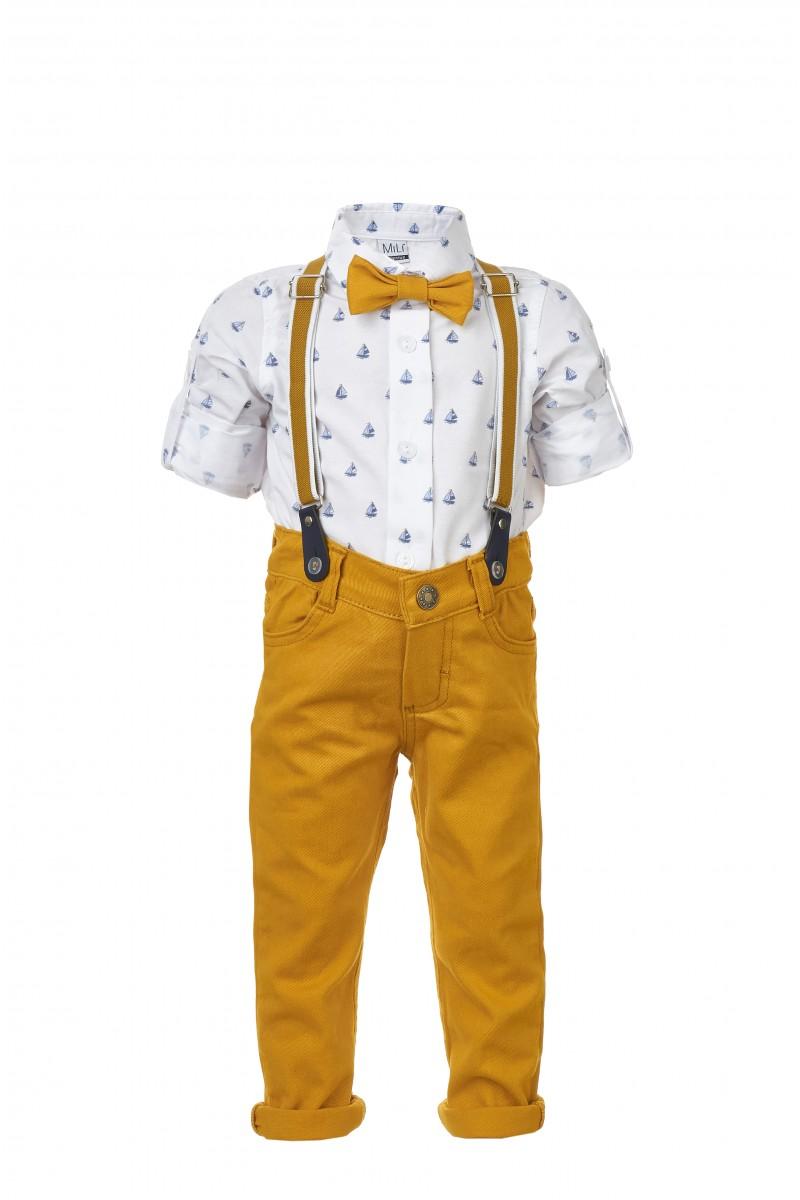 Стильный костюм  с желтыми брюками и рубашкой с принтом