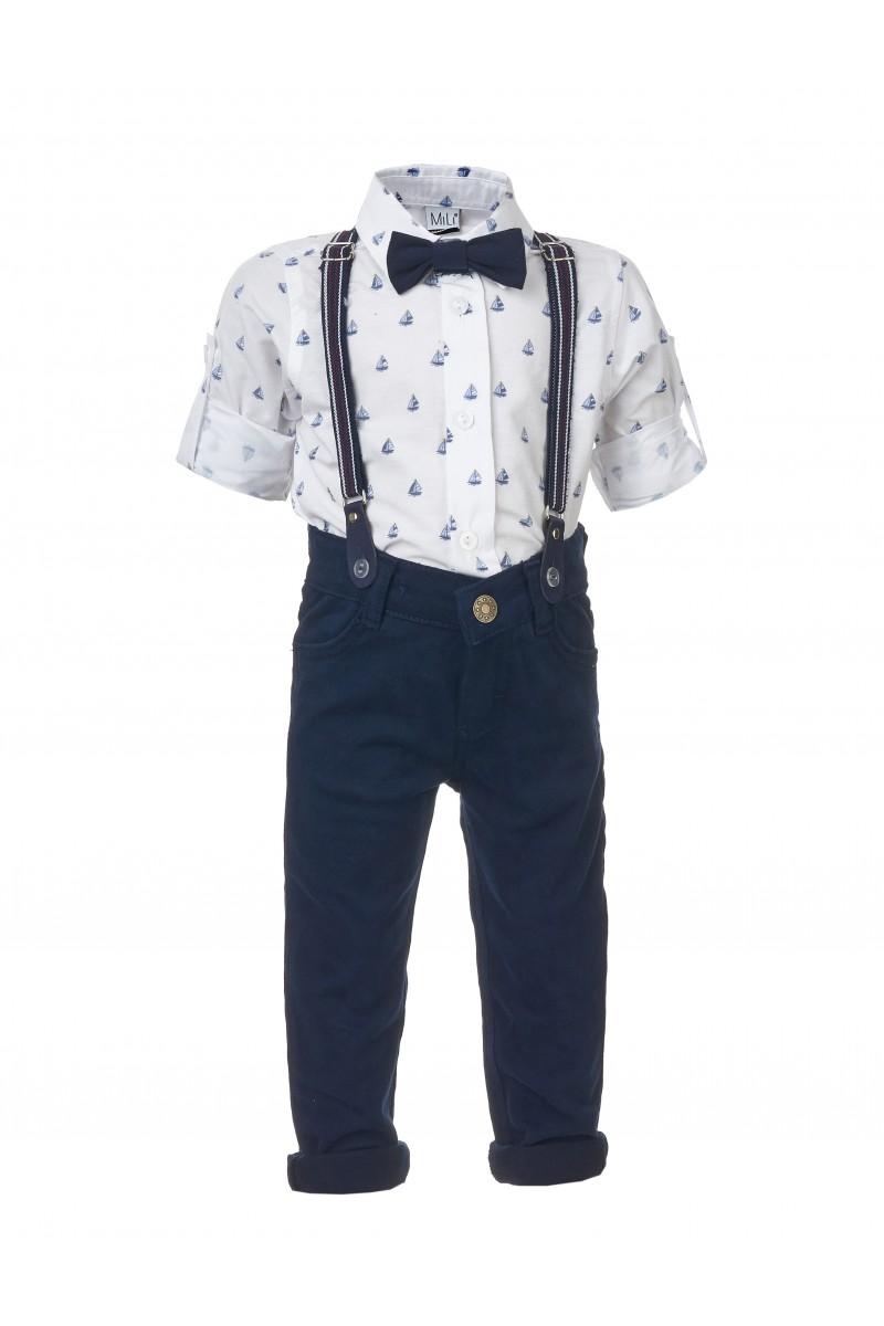 Стильный костюм для мальчика с брюками и рубашкой с морским принтом